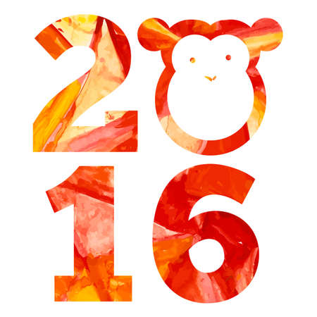 2016 and fire monkey with aquarelle effects in vector Illustration