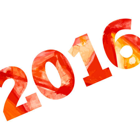 aquarelle: Vector 2016 with aquarelle effect. Happy new year!