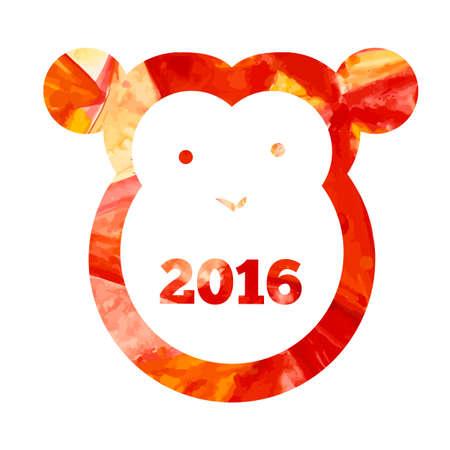 aquarelle: Vector  aquarelle fire monkey of 2016 year Illustration