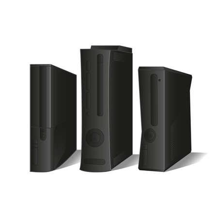Vector set: 3 black consoles
