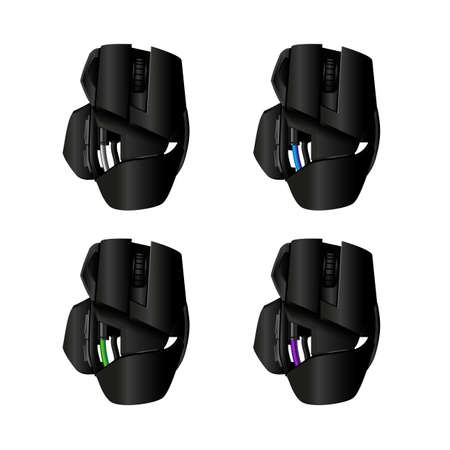 move controller: Vector gamer mouse - 4 colors Illustration