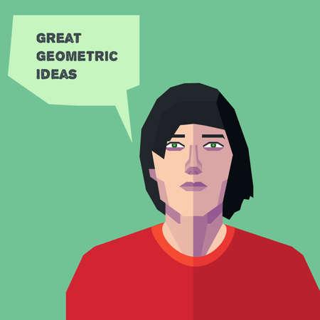 personalidad: Geom�trica del vector del hombre, pensando personalidad creativa en EPS