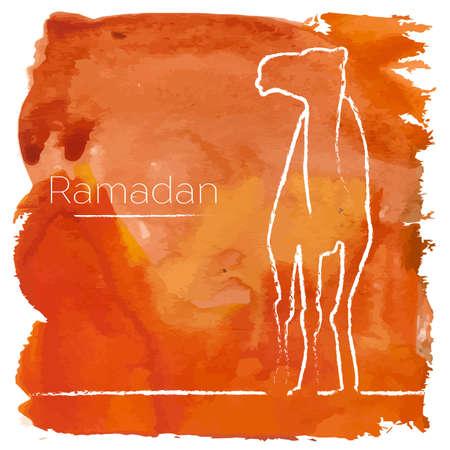 Vector Ramadan greeting with camel,  Islamic greeting card for Ramadan Kareem with aquarelle