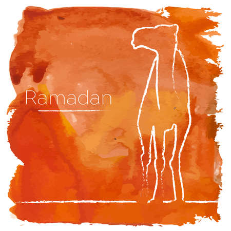 camel silhouette: Vector Ramadan greeting with camel,  Islamic greeting card for Ramadan Kareem with aquarelle