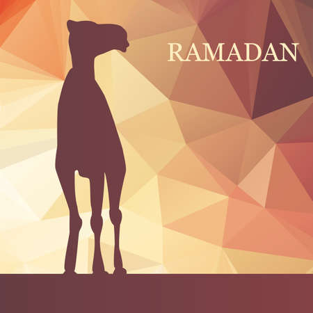 Vector Ramadan greeting with camel,  Islamic greeting card for Ramadan Kareem, low poly Vector