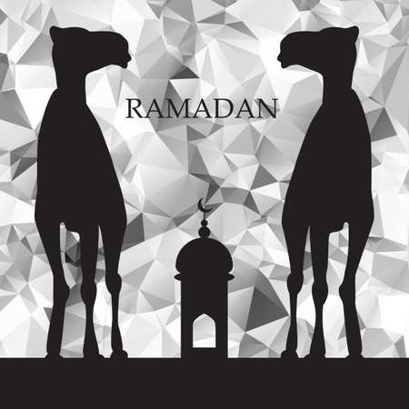 salam: Vector Ramadan greeting with camel,  Islamic greeting card for Ramadan Kareem, low poly