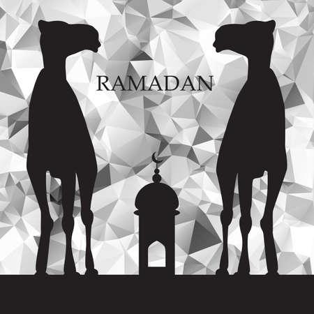 malaysia culture: Vector Ramadan greeting with camel,  Islamic greeting card for Ramadan Kareem, low poly