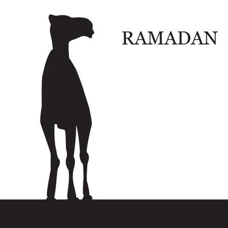 malaysia culture: Vector Ramadan greeting with camel,  Islamic greeting card for Ramadan Kareem