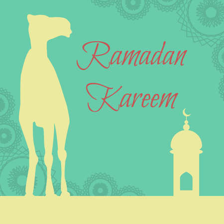 hari raya aidilfitri: Vector Ramadan greeting with camel,  Islamic greeting card for Ramadan Kareem
