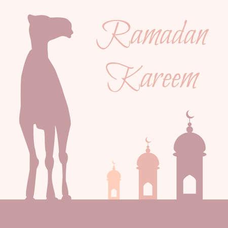 Vector Ramadan greeting with camel,  Islamic greeting card for Ramadan Kareem Vector