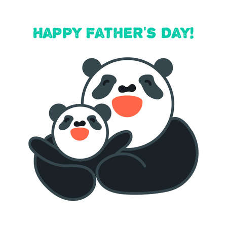 Vector sticker and card with happy father panda and child panda. Vector sticker and card with happy mother panda and child panda. Happy father's day. Happy mother's day Standard-Bild - 122040651
