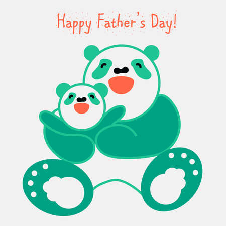 Vector sticker and card with happy father panda and child panda. Vector sticker and card with happy mother panda and child panda. Happy father's day. Happy mother's day Standard-Bild - 122040652