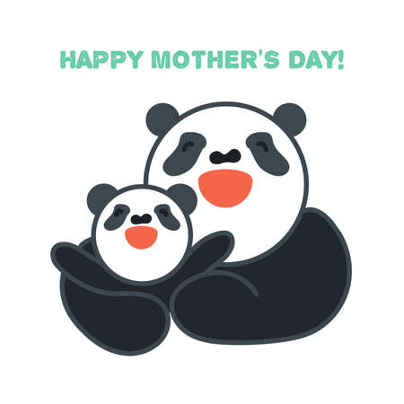 Vector sticker, card with happy mother and child panda Vector