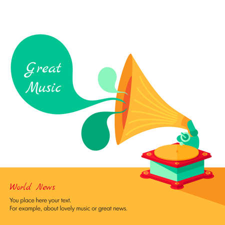 choir: Vector bright flat old gramophone in Illustration
