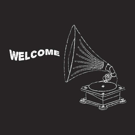 Vector old gramophone in eps