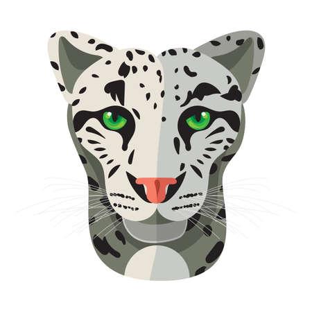 snow leopard: Wild cat, irbis, leopard, snow bars in vector