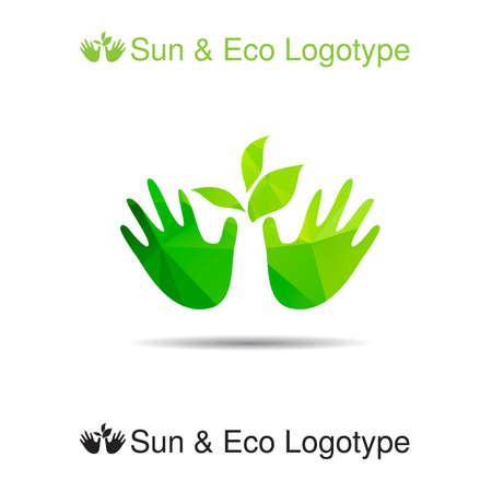 handbreadth: Vector ecology logo or icon in eps, nature logotype, leafes in our hands