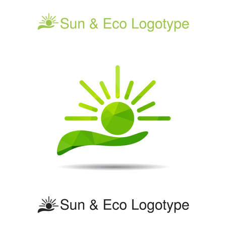 handbreadth: Bio logo, icon and ecology symbol: the sun in our hands, Sun protection