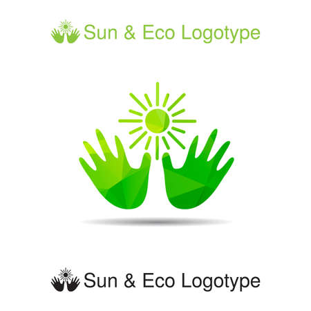 sun protection: Bio logo, icon and ecology symbol: the sun in our hands, Sun protection