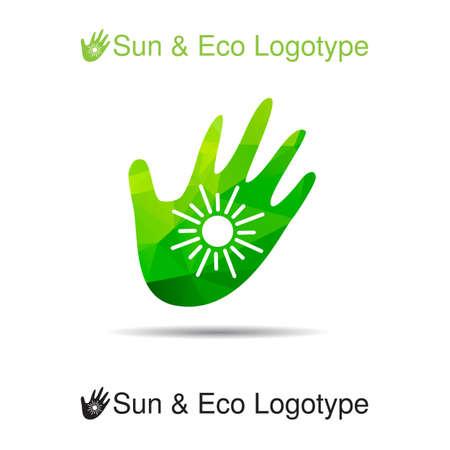 sun protection: Bio logotipo, icono y s�mbolo de la ecolog�a: el sol en nuestras manos, protecci�n solar Vectores
