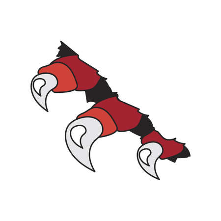 monsters or dragon red claws in crack Vector