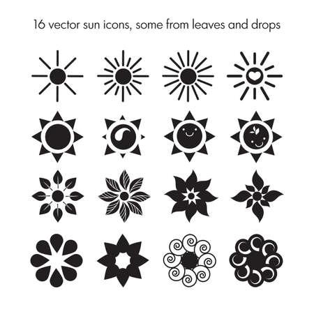 sol caricatura: Vector conjunto de 16 iconos del sol, algunos de leafes y gotas, logotipo naturaleza, la ecología iconos dom