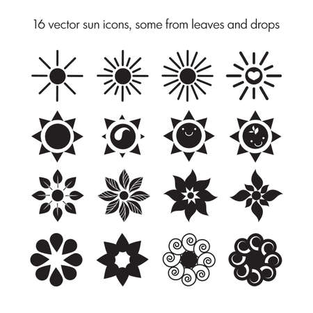 sun beam: Vector set of 16 sun icons, some from leafes and drops, nature logo, ecology sun icons