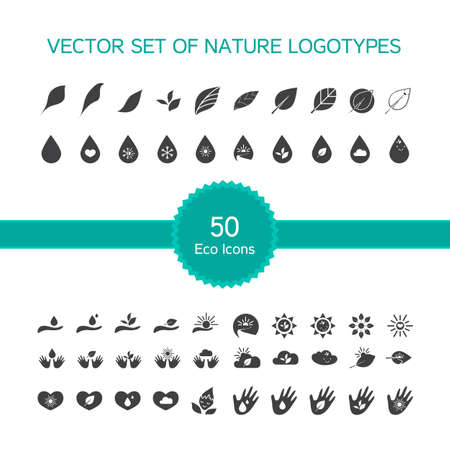 handbreadth: Vector set of 50 ecology icons, nature icon, biology symbols from leaves, hand, sun, snow, drop