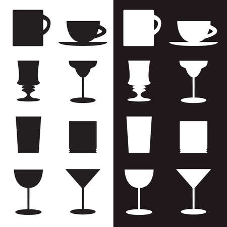 regiment: set of goblets, cups, glass silhouettes