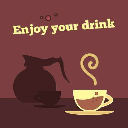 coffee maker: poster, banner with coffee cup and coffee maker