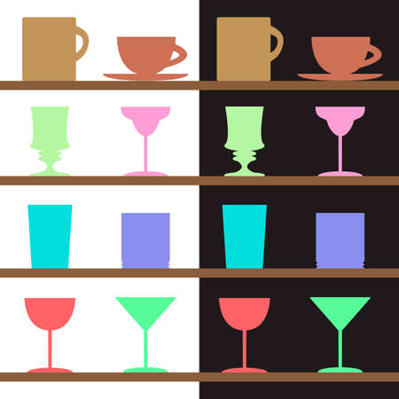 pina colada: Vector set of goblets, cups, glass silhouettes