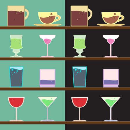 regiment: set of goblets, cups, glass with drink on bar regiment