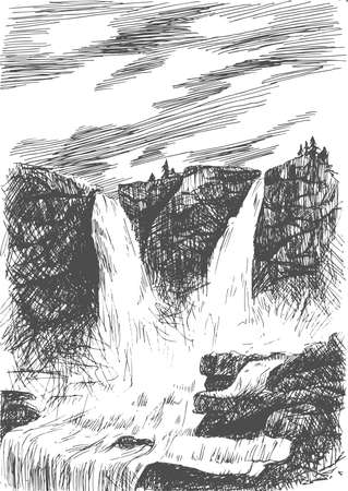 cascade mountains: Vector mountain landscape with waterfall by hatching in eps, nature scetch, waterfall poster Illustration