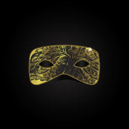 decoration decorative disguise: Vector magic gold mask with black pattern