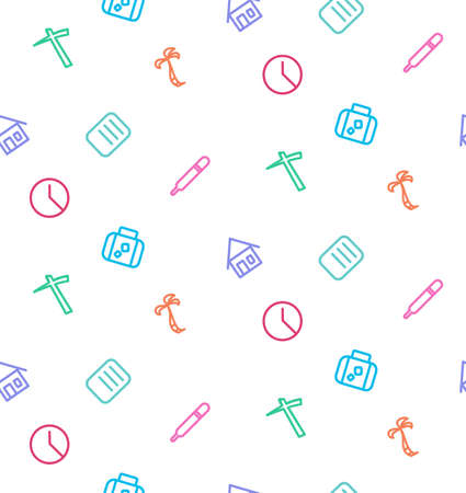 compensatory: seamless pattern from set of life icons Illustration