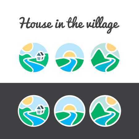 river water: Vector set of nature icons from sun, hills, river, mountains, tree and home
