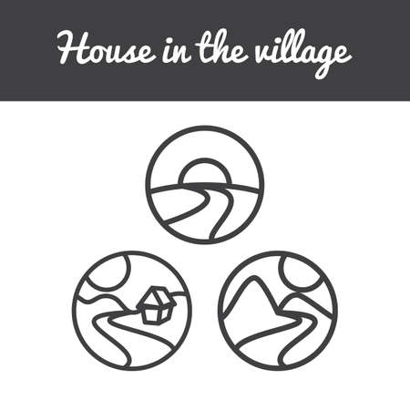 bionomics: Vector set of nature icons from sun, hills, river, mountains, tree and home