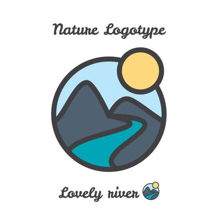 bionomics: Vector icon, logo of sunset in village, sun and river among mountains Illustration