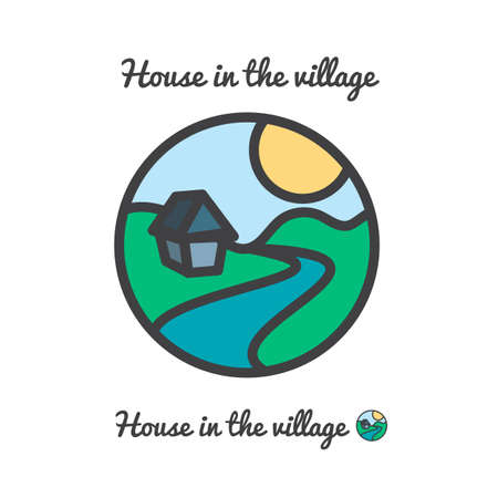 bionomics: Vector icon, logo of sunset in village, sun, house and river among hills