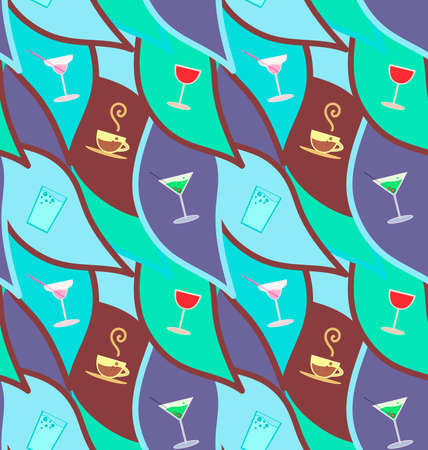 regiment: Vector seamless pattern with cocktails, restaurant background Illustration