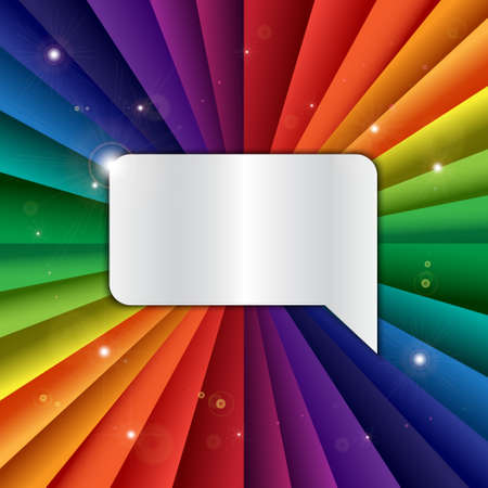 chromatique: Bright vector rainbow celebration holiday banner with message icon, vector background and chat symbol