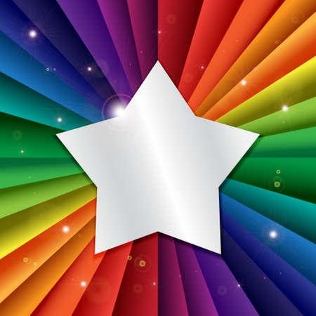 rainbow color star: Bright vector rainbow celebration holiday banner, vector background and star icon