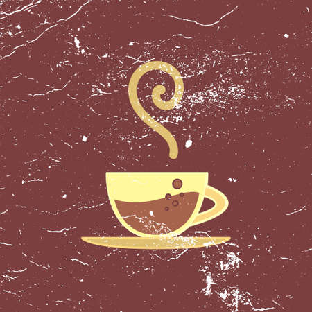 imperfections: Vector poster, banner with hot coffee cup and bubbles, retro wallpaper for coffe house, coffein theme Illustration