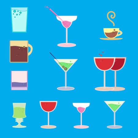regiment: Vector set of goblets, cups, glass with drink on bar regiment