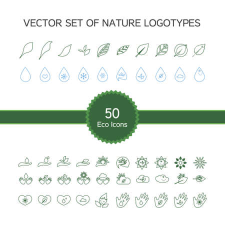 handbreadth: Vector set of 50 ecology icons, nature logo, biology symbols from leaves, hand, sun, snow, drop