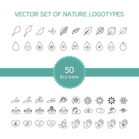 Vector set of 50 ecology icons, nature logo, biology symbols from leaves, hand, sun, snow, drop
