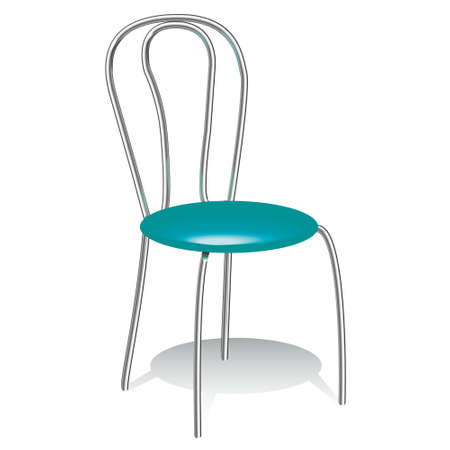 Illustration of the turquoise chair with iron back and legs. Stock Photo