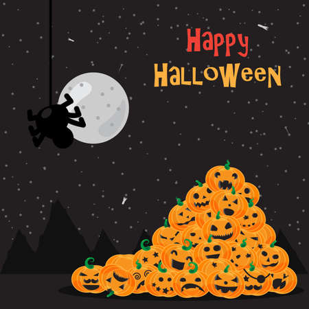 halloween poster: Halloween poster, background with pumpkins, spider and moon