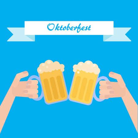 octoberfest: Octoberfest poster wth beer in hand. Vector