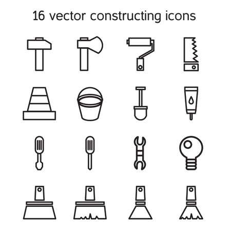 warning saw: Constructing and building icons set. Repair symbols. Vector Illustration